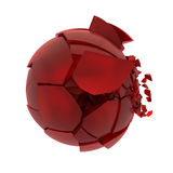 Broken red glass ball Stock Photos