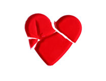Broken Red Glass Heart Stock Photography