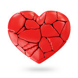 Broken Red Heart. On white background Royalty Free Stock Photos