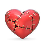 Broken red heart joined with metal staples. 3D Royalty Free Stock Images