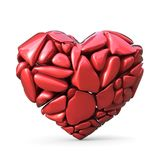 Broken red heart made of red rocks. 3D. Render illustration isolated on white background Stock Images