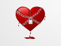 Broken red heart for Valentines Day. Stock Photos