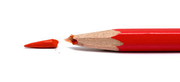 Broken red pencil Royalty Free Stock Photo