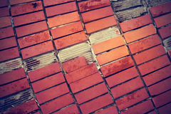 Broken red tiles on old cement floor Stock Photos