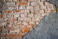 Broken red wall royalty free stock photo