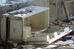 Broken  refrigerator photo from demolition  textile  factory Stock Image