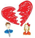 Broken relationship drawing in graffiti style. Drawing in messy graffiti style to illustrate a broken relationship Stock Image