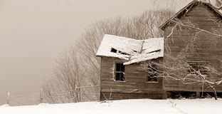 Broken Relic. An old West Virginia homestead with a leaky roof Royalty Free Stock Images