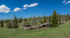 Broken Remains of Log Cabin Royalty Free Stock Images