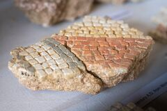 Free Broken Remains Of Excavated Mosaic Floor Pieces From A Roman Villa In West Sussex, England Royalty Free Stock Photo - 197088435