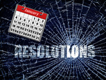 Broken Resolutions. The word Resolutions on a blue cracked background, with a January calendar Stock Photography