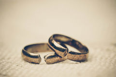 Broken rings. Two broken wedding rings / Divorce concept Royalty Free Stock Image