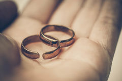Broken rings. Two broken wedding rings / Divorce concept Stock Image