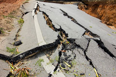 Broken road by an earthquake in Chiang Rai, thailand Royalty Free Stock Photos