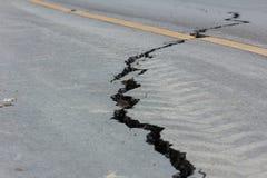 Broken road by an earthquake in Chiang Rai, thailand Stock Photo