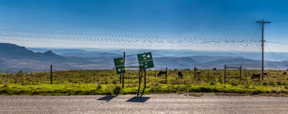 Broken road sign in landscape of South Africa Stock Images