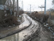 Broken roads. Impassable Russian roads in city Stock Photo