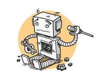 Broken Robot Fix Technology. A hand drawn vector cartoon illustration of a broken robot trying to fix itself stock illustration