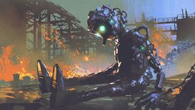 Broken robot leaved on abandoned factory. Digital art style, illustration painting royalty free illustration