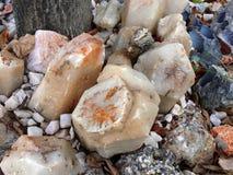 Broken rocks. And minerals stock photo