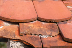 Broken roof tiles Stock Photo