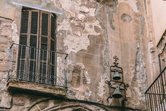 Broken ruined wall balcony Royalty Free Stock Photography