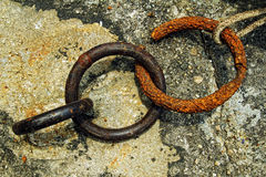 Broken rusted chain Stock Images