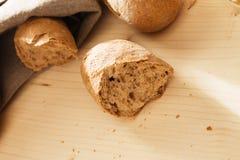 Broken rye bun Royalty Free Stock Photos
