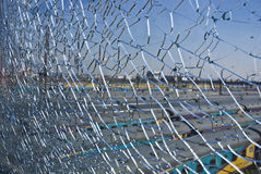 Broken Safety Glass Barrier Royalty Free Stock Photography