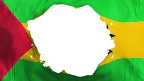 Broken Sao Tome and Principe flag. White background, 3d rendering stock illustration