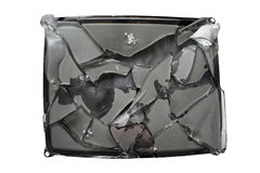 Broken screen. Old trashed TV with a smashed screen stock photos