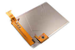 Broken screen of electronic pocket book royalty free stock photo