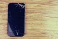 Broken screen glass of mobile smartphone.  stock photos