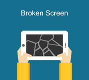 Broken screen illustration. Crack screen concept. Flat design.n Royalty Free Stock Photo