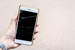 Broken screen mobile , screen moblle is Cracked glass stock photo