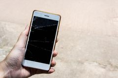 Broken screen mobile , screen moblle is Cracked glass royalty free stock image