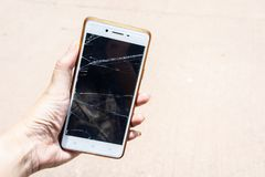 Broken screen mobile , screen moblle is Cracked glass royalty free stock photos