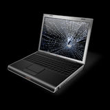 Broken screen Notebook. Notebook with LCD screen in pieces Stock Image