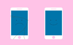 Broken Screen phone with a sad smile, and the whole phone is smiling. Flat vector illustration. A broken phone with a sad smile, and the whole phone is smiling Royalty Free Stock Photography