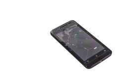 Broken screen phone. The broken screen phone on white background stock photo