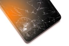 Broken screen phone, On a white background. Device needs repair. Broken screen phone, On a white background royalty free stock photo