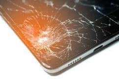 Broken screen phone, On a white background. Device needs repair. Broken screen phone, On a white background royalty free stock image