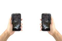 Broken screen phone. On whitebackground royalty free stock photos