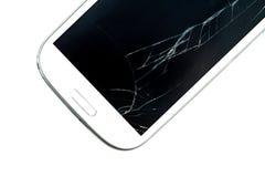 Broken screen smart phone stock image
