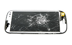 Broken screen smart phone on white background Royalty Free Stock Photo