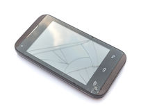 Broken on screen smart phone with white background. Broken on screen smart phone stock image
