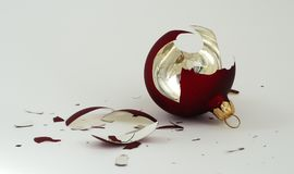 Broken Season. A broken Xmas ball shattered to pieces Stock Image