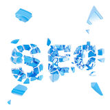 Broken SEO as word crashed into pieces Stock Photography