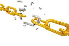 Broken Shackle. Illustration of broken silver shackle in gold chain Stock Photo