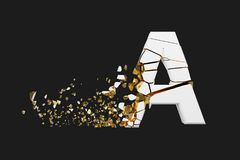 Broken shattered alphabet letter A uppercase. Crushed white and gold font. 3D render isolated on grey background. Typographic symbol from cracked debris stock illustration
